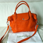 LONGCHAMP LE PLIAGE CUIR IN ORANGE LEATHER