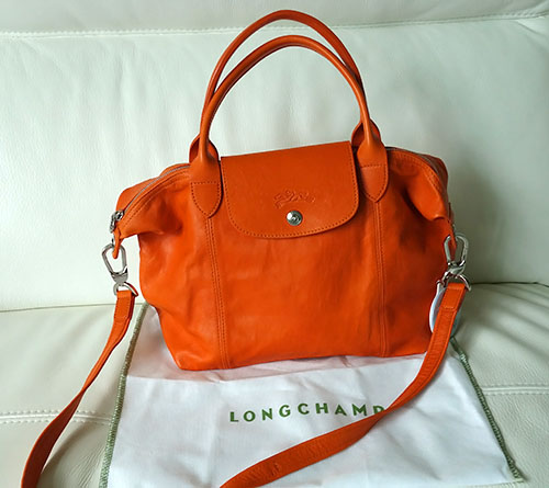 LONGCHAMP LE PLIAGE CUIR IN ORANGE LEATHER  7712c7ee54cf1