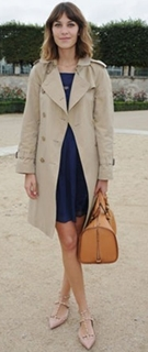 022-alexa-chung-beige-trench-coat-navy-blue-dress-and-pointed-toe-nude-flats
