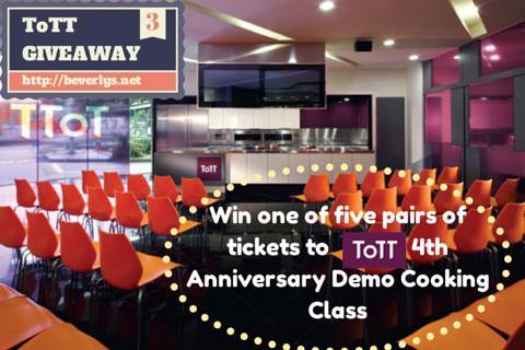 GIVEAWAY: Win one of five pairs of tickets to ToTT's 4th Anniversary Demo Cooking Class!