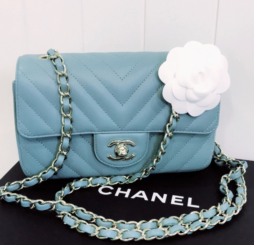942ee729b1f So this is the Chanel mini rectangle in 2017 light blue chevron lambskin,  with light GHW.