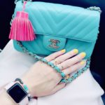 CHANEL MINI RECTANGLE IN LIGHT BLUE CHEVRON LAMBSKIN